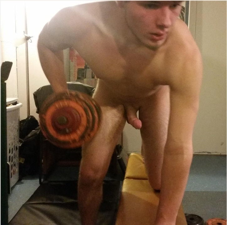 Naked college guy jock masturbating and